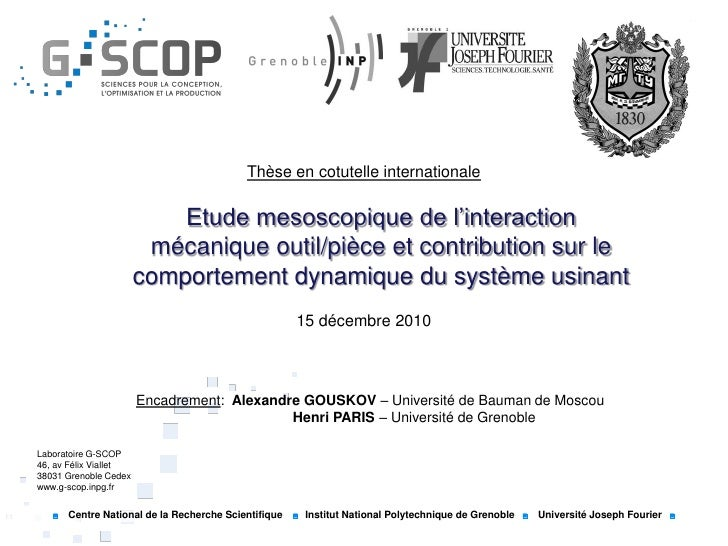 Thèse en cotutelle internationale                           Etude mesoscopique de l'interaction                        méc...