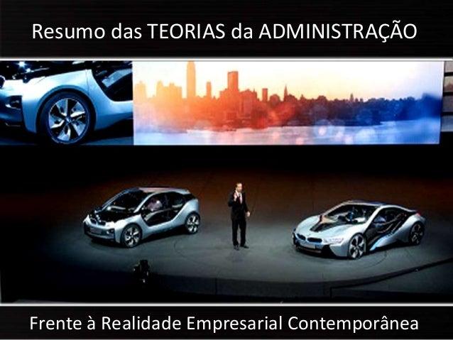 Frente à Realidade Empresarial Contemporânea Resumo das TEORIAS da ADMINISTRAÇÃO