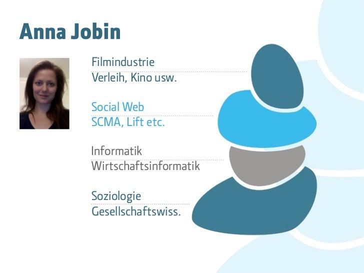 Anna Jobin       Filmindustrie       Verleih, Kino usw.       Social Web       SCMA, Lift etc.       Informatik       Wirt...