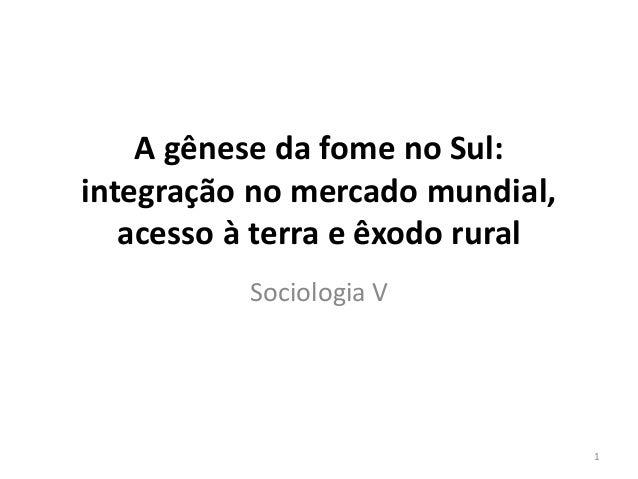 A gênese da fome no Sul:  integração no mercado mundial,  acesso à terra e êxodo rural  Sociologia V  1