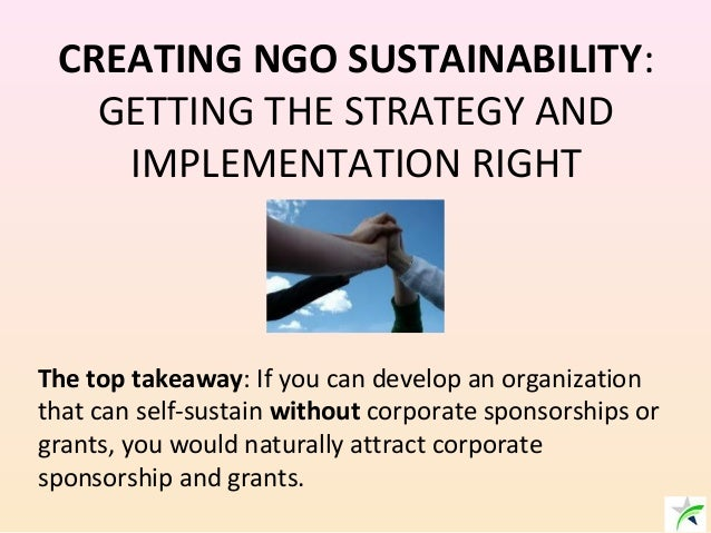 CREATING NGO SUSTAINABILITY: GETTING THE STRATEGY AND IMPLEMENTATION RIGHT The top takeaway: If you can develop an organiz...