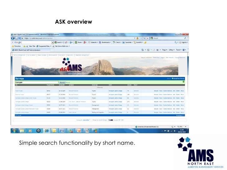 Presentation for asbestos management system - ASK Slide 3