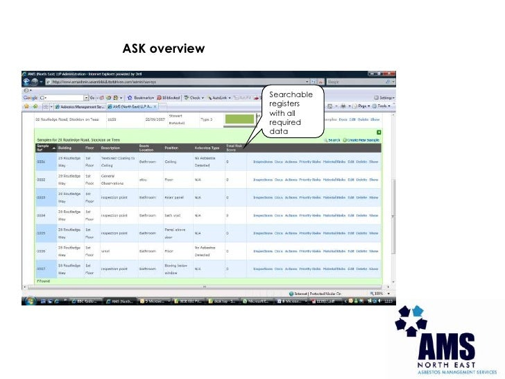 ASK overview<br />Searchable registers with all required data<br />
