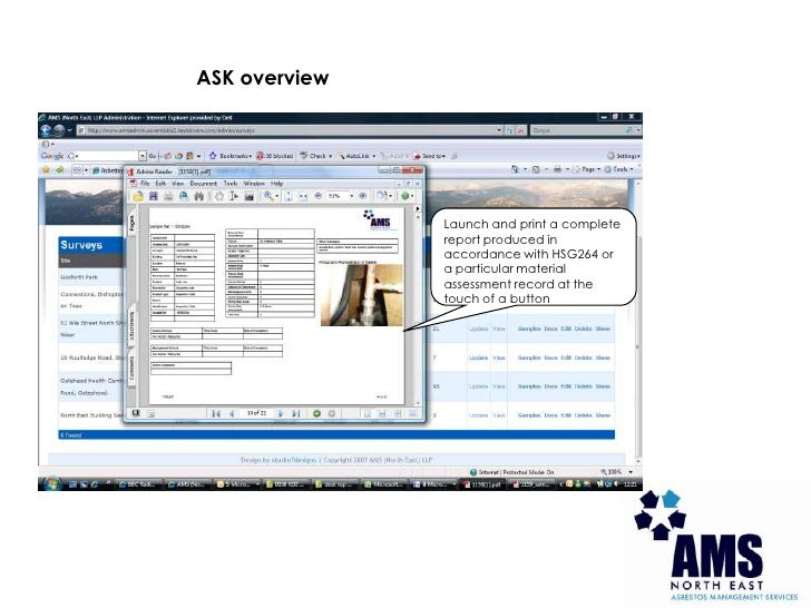 ASK overview<br />Launch and print a complete report produced in accordance with HSG264 or a particular material assessmen...