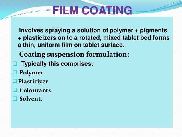 Presentation For Tablet Coating