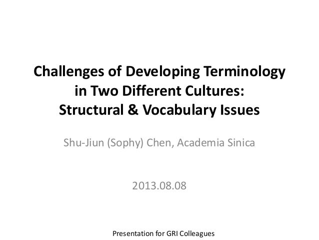 Challenges of Developing Terminology in Two Different Cultures: Structural & Vocabulary Issues Shu-Jiun (Sophy) Chen, Acad...
