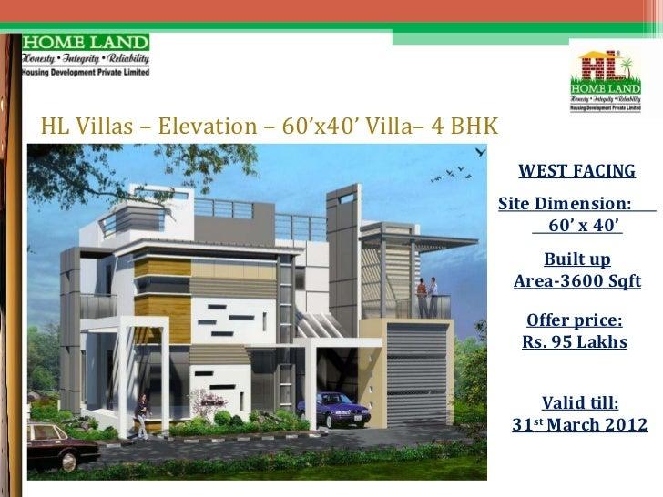 Presentation for HL villas – West Facing House Plans For 60X40 Site