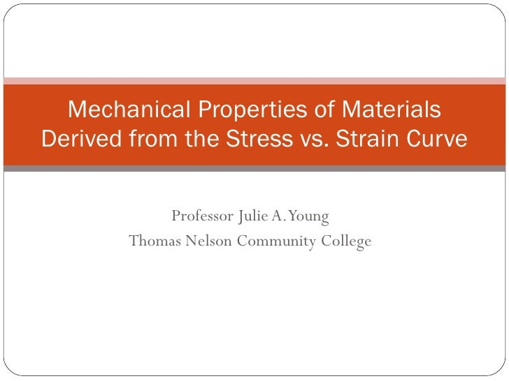 Professor Julie A. Young Thomas Nelson Community College Mechanical Properties of Materials Derived from the Stress vs. St...