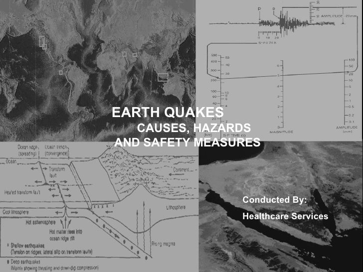 EARTH QUAKES   CAUSES, HAZARDS AND SAFETY MEASURES Conducted By: Healthcare Services