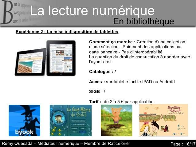 La lecture numérique     La lecture numériqueLa lecture numérique      Le livre augmenté – en médiathèque                 ...