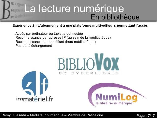 La lecture numérique     La lecture numériqueLa lecture numérique                                                   En bib...