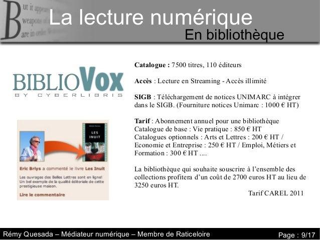 La lecture numérique     La lecture numériqueLa lecture numérique                                                     En b...