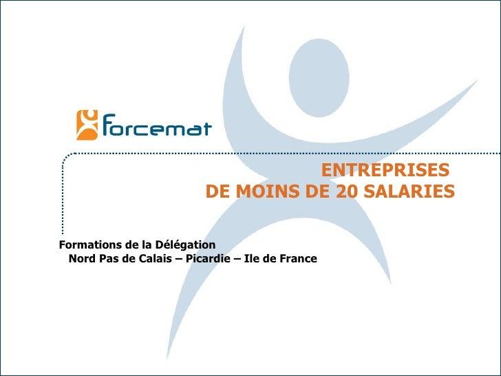 ENTREPRISES  DE MOINS DE 20 SALARIES Formations de la Délégation  Nord Pas de Calais – Picardie – Ile de France