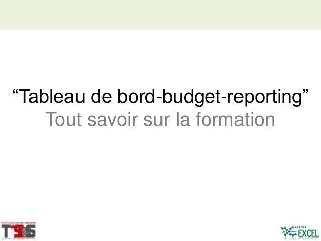 """""""Tableau de bord-budget-reporting"""" Tout savoir sur la formation"""
