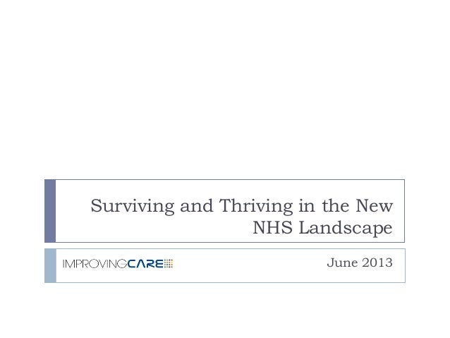 Surviving and Thriving in the New NHS Landscape June 2013