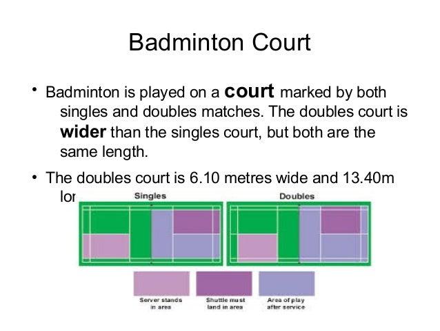Badminton singles court
