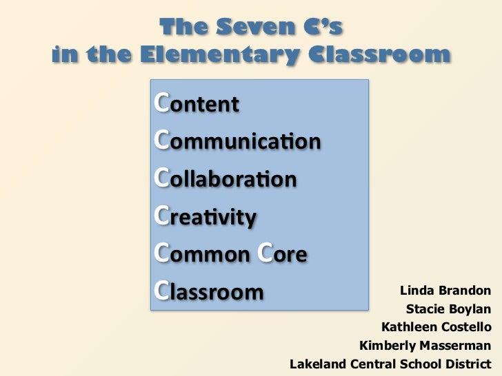The Seven C'sin the Elementary Classroom      Content      Communica+on      Collabora+on      Crea+vity      CommonCore ...
