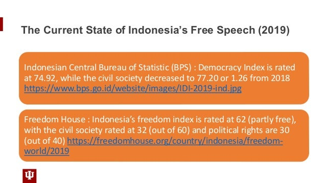 The Current State of Indonesia's Free Speech (2019) Indonesian Central Bureau of Statistic (BPS) : Democracy Index is rate...
