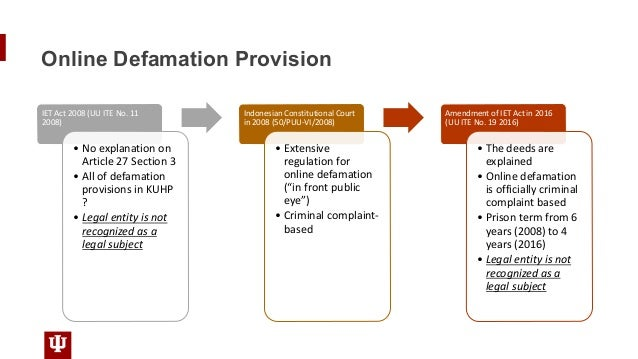 Online Defamation Provision IET Act 2008 (UU ITE No. 11 2008) • No explanation on Article 27 Section 3 • All of defamation...