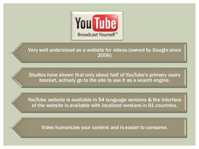 Very well understood as a website for videos.(owned by Google since 2006)  Studies have shown that only about half of YouT...