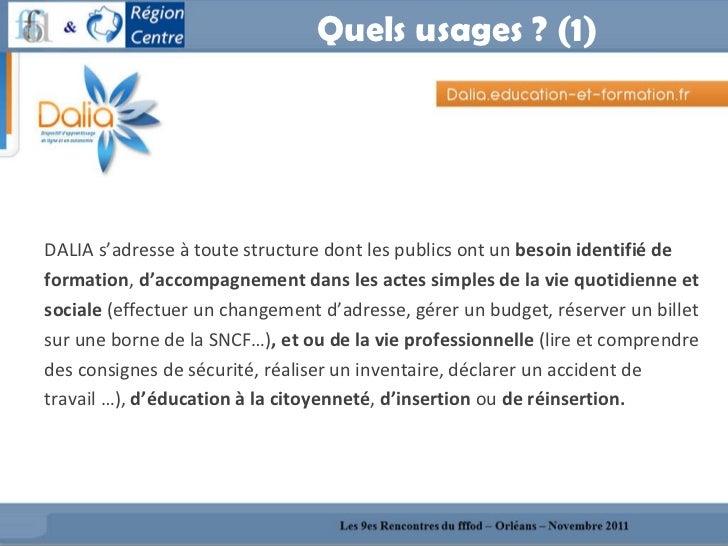 Quels usages ? (1) <ul><li>DALIA s'adresse à toute structure dont les publics ont un  besoin identifié de  </li></ul><ul><...