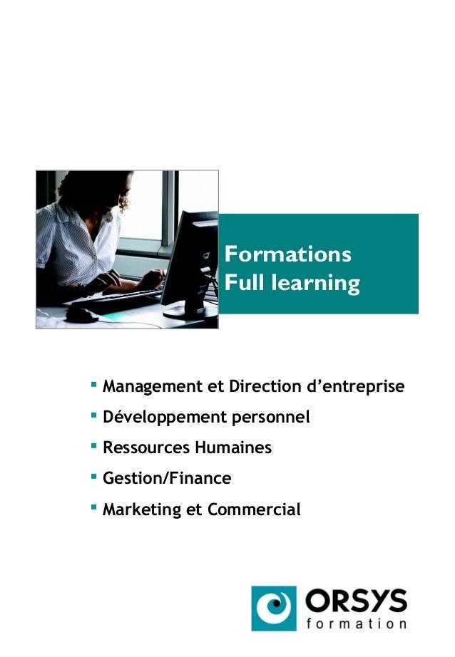 Formations Full learning  Management et Direction d'entreprise  Développement personnel  Ressources Humaines  Gestion/...
