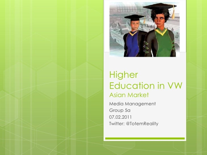 Higher Education in VWAsian Market<br />Media Management<br />Group 5a<br />07.02.2011<br />Twitter: @TotemReality<br />