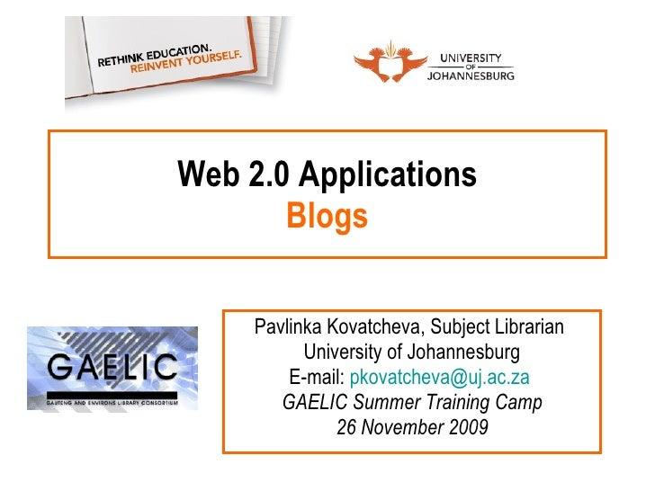Web 2.0 Applications: Blogs