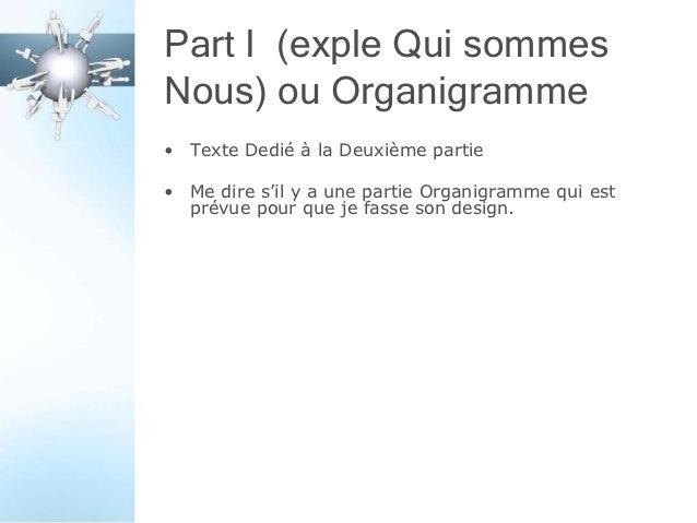 Part I (exple Qui sommesNous) ou Organigramme• Texte Dedié à la Deuxième partie• Me dire s'il y a une partie Organigramme ...