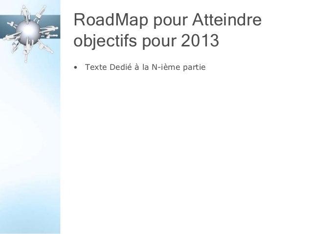 RoadMap pour Atteindreobjectifs pour 2013• Texte Dedié à la N-ième partie
