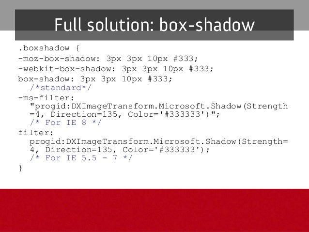 text-shadow Tips&issues – Canhelpaccentuatetextandimprovereadability andvisualimportance GracefulDegradation –...