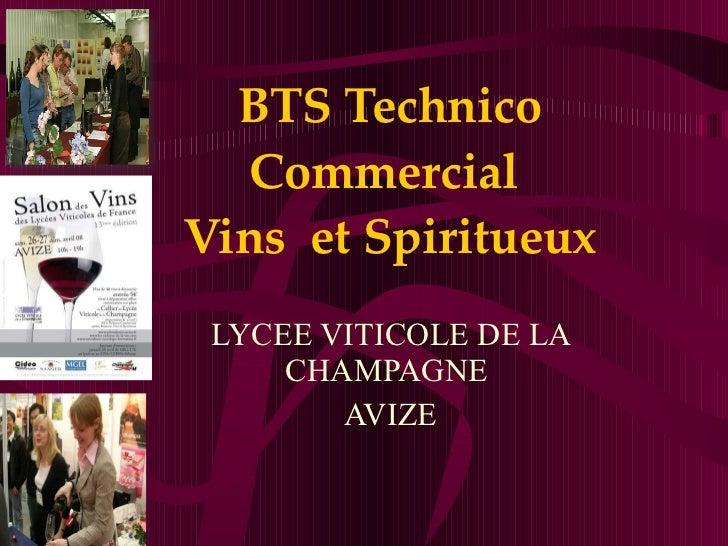 BTS Technico Commercial  Vins  et Spiritueux LYCEE VITICOLE DE LA CHAMPAGNE  AVIZE