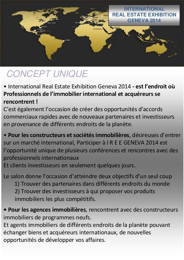 INTERNATIONAL REAL ESTATE EXHIBITION GENEVA 2014  CONCEPT UNIQUE • International Real Estate Exhibition Geneva 2014 - est ...