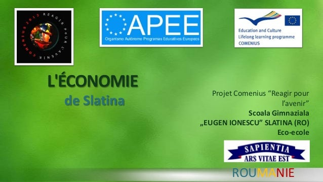 "L'ÉCONOMIE de Slatina ROUMANIE Projet Comenius ""Reagir pour l'avenir"" Scoala Gimnaziala ""EUGEN IONESCU"" SLATINA (RO) Eco-e..."