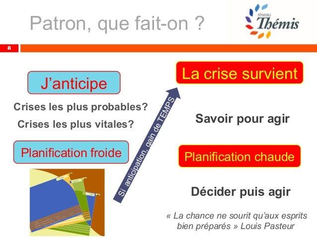 8 J'anticipe Planification froide Crises les plus probables? Crises les plus vitales? La crise survient Planification chau...