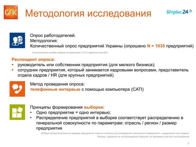 5 Методология исследования Опрос работодателей. Методология: Количественный опрос предприятий Украины (опрошено N = 1035 п...
