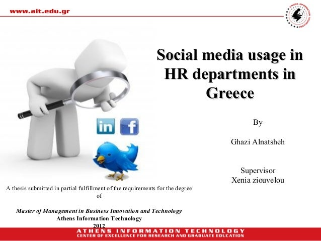 Social media usage in                                                              HR departments in                      ...