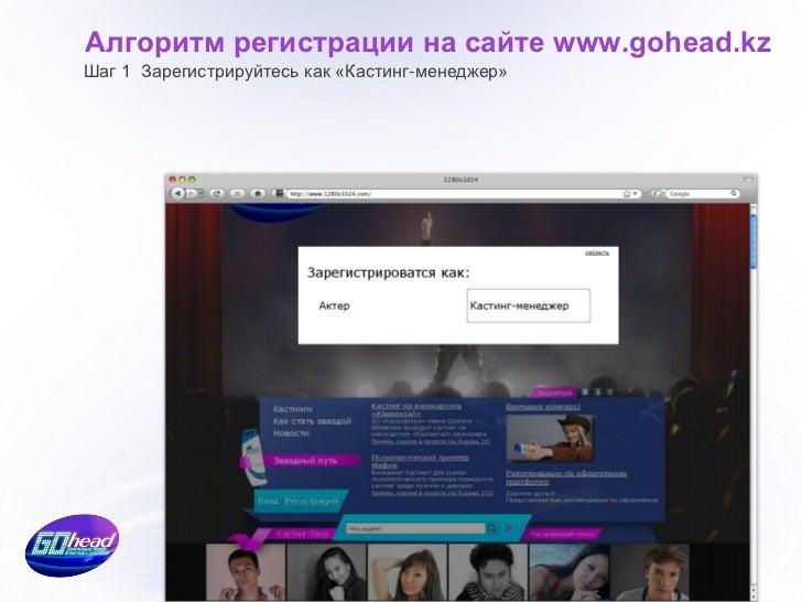 Алгоритм регистрации на сайте www.gohead.kz                  Шаг 2 После регистрации из Личного кабинета                  ...