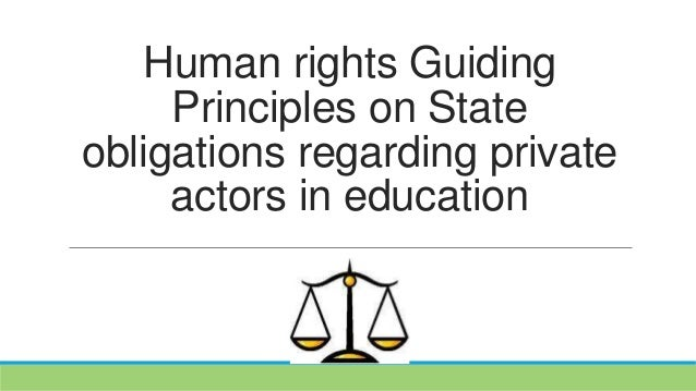Human rights Guiding Principles on State obligations regarding private actors in education
