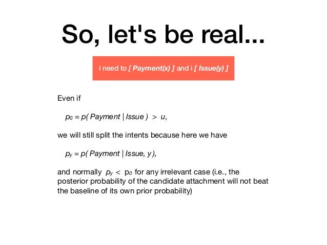 So, let's be real... Even if  p0 = p( Payment   Issue ) > u, we will still split the intents because here we have  py = p(...