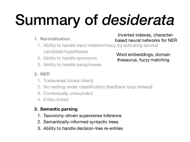 Summary of desiderata 1. Normalization 1. Ability to handle input indeterminacy by activating several candidate hypotheses...