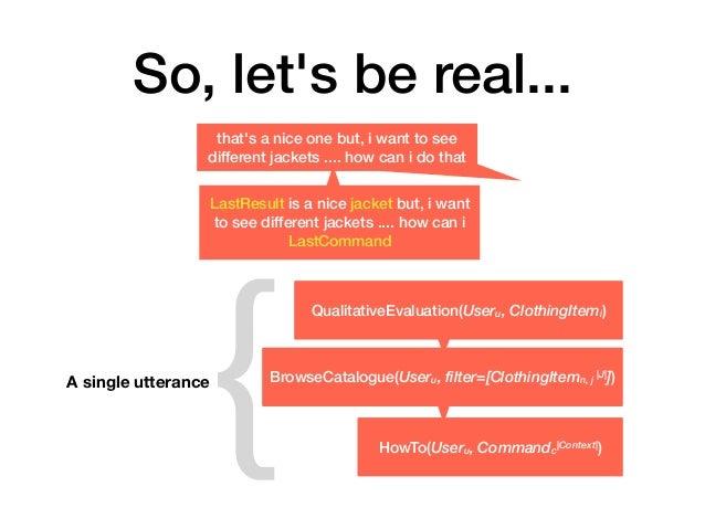 So, let's be real... QualitativeEvaluation(Useru, ClothingItemi) BrowseCatalogue(Useru, filter=[ClothingItemn, j  J ]) How...