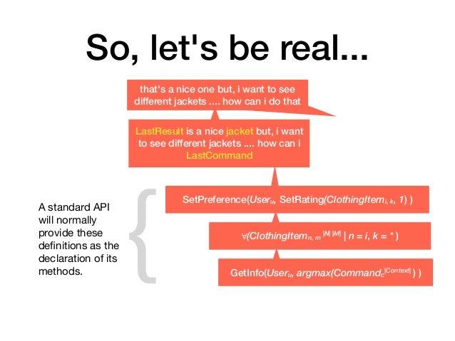 So, let's be real... GetInfo(Useru, argmax(Commandc  Context  ) ) SetPreference(Useru, SetRating(ClothingItemi, k, 1) ) th...