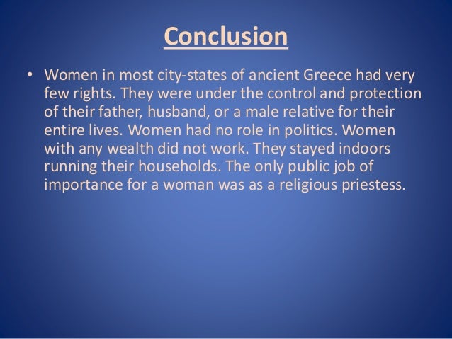role of women in ancient greece Social and political roles of women in athens and sparta  a woman's main role in society in athens was a  greek city-states ancient women's historian sarah.