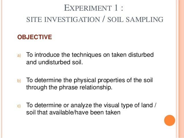 Site investigation and example of soil sampling for Soil is an example of