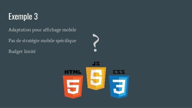 Exemple 3 Adaptation pour affichage mobile Pas de stratégie mobile spécifique Budget limité ?