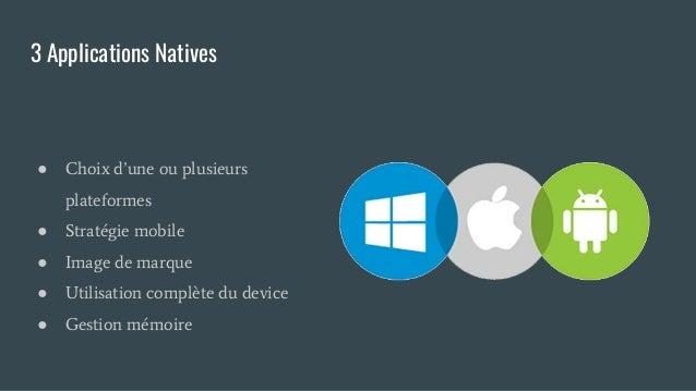 3 Applications Natives ● Choix d'une ou plusieurs plateformes ● Stratégie mobile ● Image de marque ● Utilisation complète ...