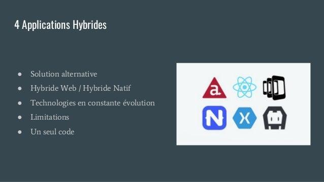 4 Applications Hybrides ● Solution alternative ● Hybride Web / Hybride Natif ● Technologies en constante évolution ● Limit...