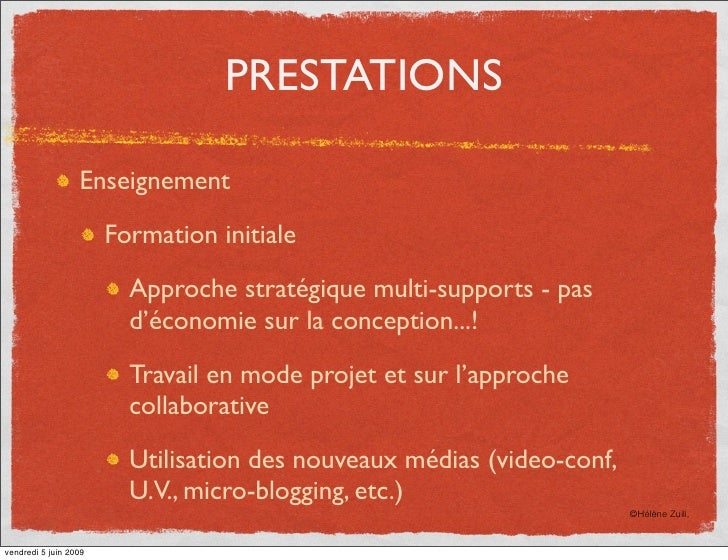 PRESTATIONS                    Enseignement                         Formation initiale                           Approche ...