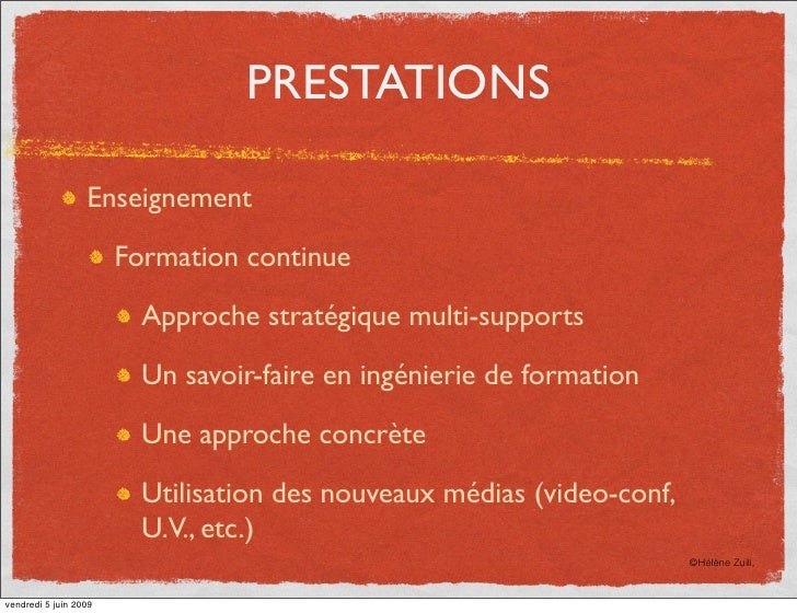 PRESTATIONS                    Enseignement                         Formation continue                           Approche ...
